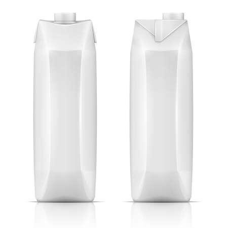 Witte kartonnen verpakking sjabloon voor drank: sap, melk. Voor- en zijaanzicht. Inzameling van verpakkingen. Vector illustratie. Stock Illustratie