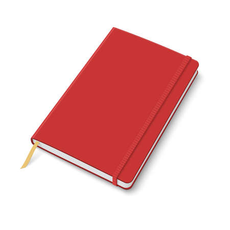 Blank red copybook template with elastic band and bookmark. Vector illustration.
