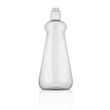 cleaning products: Transparent plastic bottle with riffle cap  Illustration