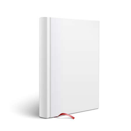 빨간색 책갈피 흰색 표면 전망보기에 서있는 빈 수직 하드 커버 책 템플릿입니다. 벡터 일러스트 레이 션.