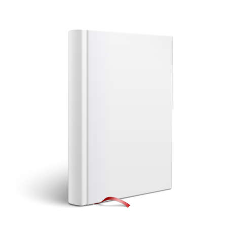 Blank vertical hardcover book template with red bookmark standing on white surface  Perspective view. Vector illustration.
