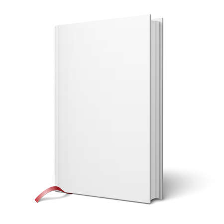 foreshortening: Blank vertical book with bookmark template.