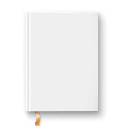 Blank hardcover book template with bookmark on white background Vector illustration.