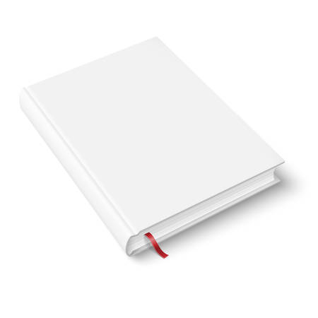 foreshortening: Blank book template with bookmark. Illustration