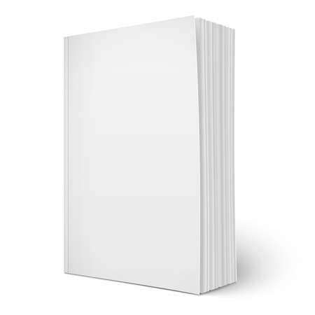 Blank vertical softcover book template with pages. Çizim