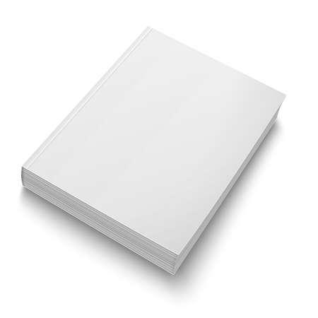 peri�dico: Molde do livro de capa mole em branco no branco.
