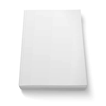 folio: Blank softcover book template on white.
