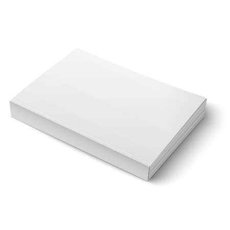 cover up: Blank softcover book template on white.