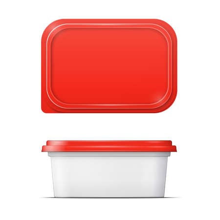 plastic container: White butter container with red lid template.