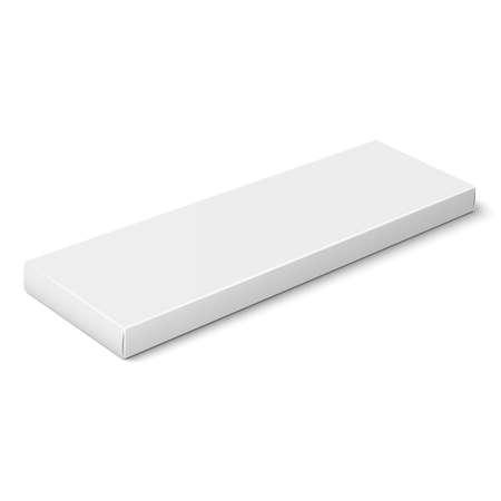 White slim paper box template.