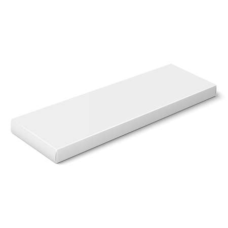 White slim paper box template.