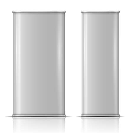 Tin oil can, front and side view Vectores