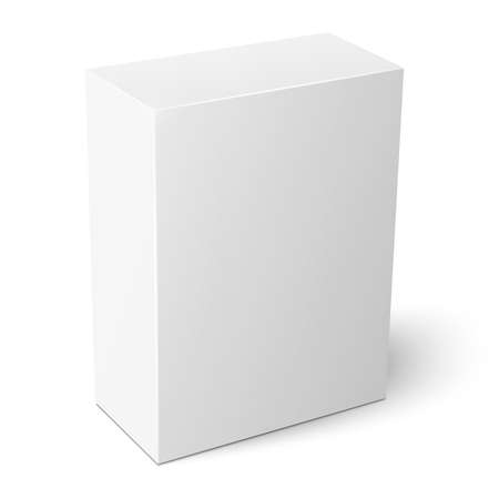 product packaging: White vertical paper box template.