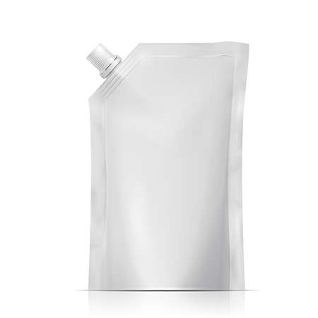 Blank plastic spouted pouch template for puree, beverage, cosmetics.  Packaging collection. Vector illustration. Vettoriali