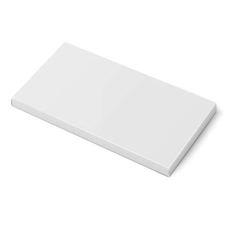 White slim cardboard box template for chocolate, crayons, pencils. Packaging collection. Vector illustration. Illustration