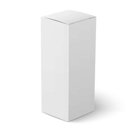 phial: Blank vertical paper or cardboard box template standing on white background Packaging collection. Vector illustration.