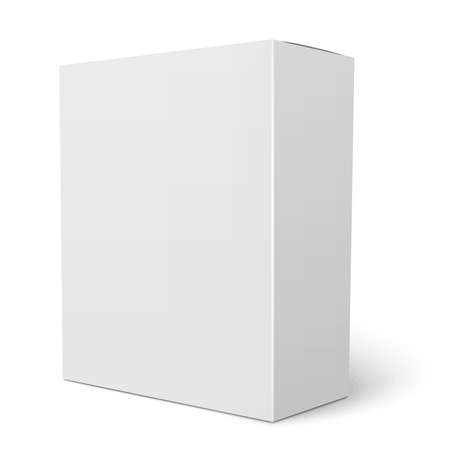 Blank Vertical Paper Box Template Standing On White Background