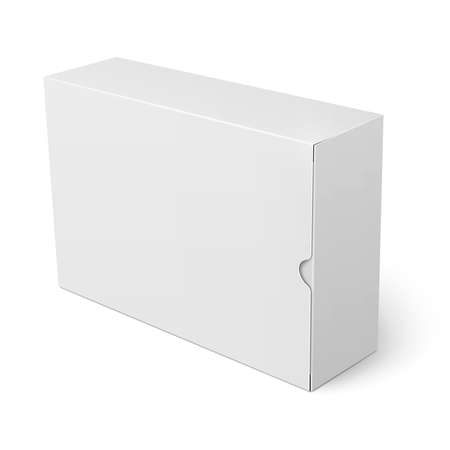 Template of blank cardboard box with flap cover standing on white background Packaging collection. Vector illustration.