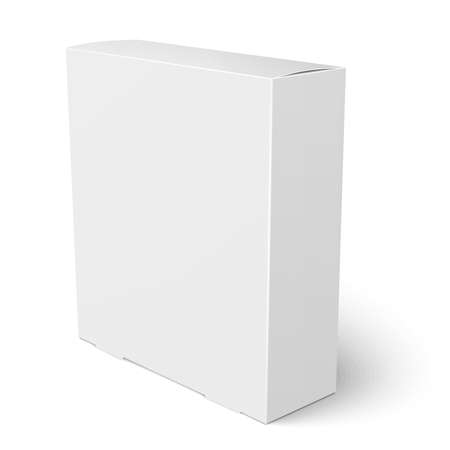 Blank vertical paper box template standing on white background. Packaging collection. Vector illustration.