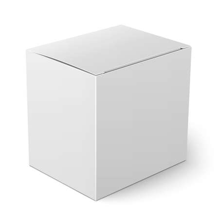 白紙の用紙または段ボール箱包装コレクションの白い背景の上に立ってフラップ カバーのテンプレート。ベクトルの図。  イラスト・ベクター素材