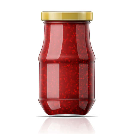 confiture: Glass jar with raspberry jam. Vector illustration. Packaging collection. Illustration