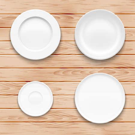 White plate set on wooden background. Kitchen dishware. Vector illustration.