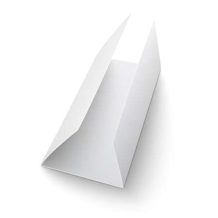 triple: Blank trifold paper brochure. on white background with soft shadows. C-folded. Vector illustration. EPS10.