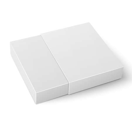 sliding: White sliding cardboard box template on white background Packaging collection. Vector illustration.