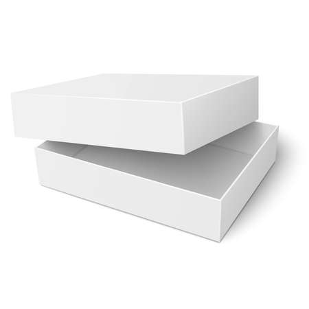 lid: Template of blank paper or cardboard box with opened lid lying on white background Packaging collection. Vector illustration.