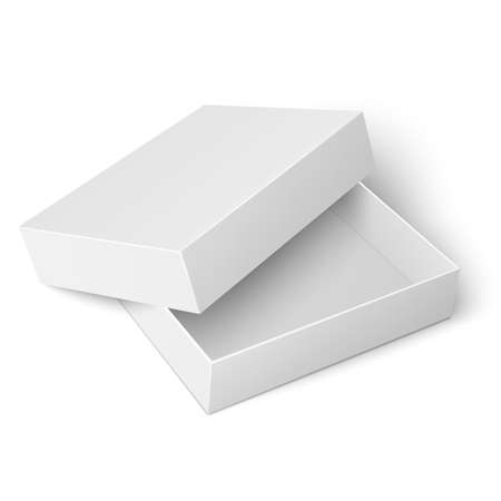 lid: Template of blank cardboard box with opened lid lying on white background Packaging collection. Vector illustration.