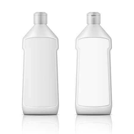 bleach: White plastic bottle with label for bleach, cleaning agent or washing cleaner. Packaging collection. Vector illustration.