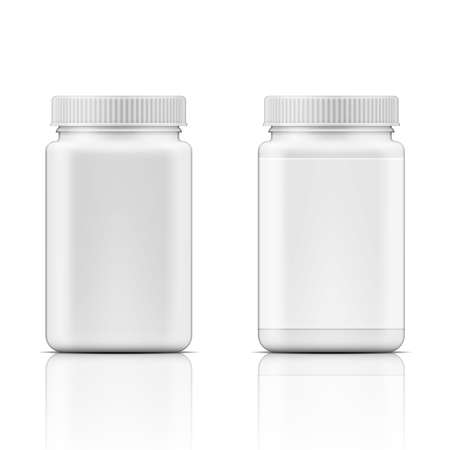 Template of white square plastic bottle with screw cap for medicine, pills, tabs. Packaging collection. Vector illustration.