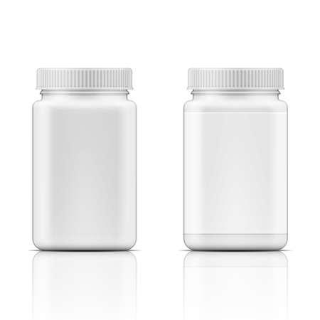 Plantilla de cuadrado blanco botella de plástico con tapón de rosca de la medicina, píldoras, pestañas. Recogida de envases. Ilustración del vector.