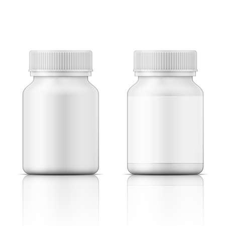Modello di bottiglia di plastica bianca con tappo a vite per la medicina, pillole, schede. Raccolta imballaggi. Illustrazione vettoriale. Vettoriali