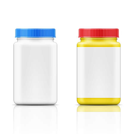 bottle screw: Template of colored square plastic bottle with screw cap for medicine, pills, tabs. Packaging collection. Vector illustration. Illustration