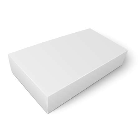 Blank flat paper or cardboard box template lying on white background. Packaging collection. Vector illustration. Illustration