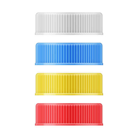 Set of colored plastic screw caps for medicine bottles. Packaging collection. Vector illustration.