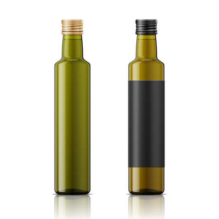Glass bottle with screw cap for olive oil or vinegar. Different shades of green, black label example. Template for product design. Packaging collection.