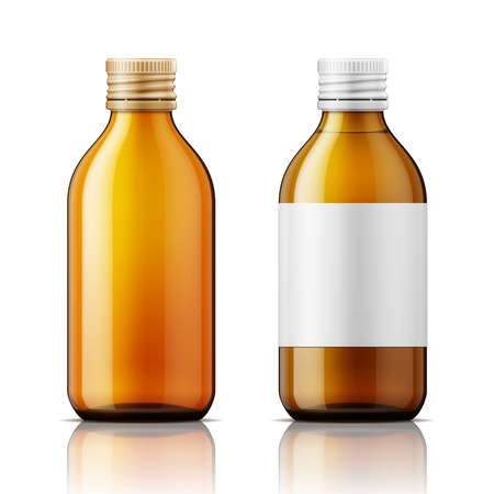 Template of brown glass bottle with screw cap, filled with liquid and empty. For medicine, syrup, pills, tabs. Packaging collection. Vector illustration. Ilustracja