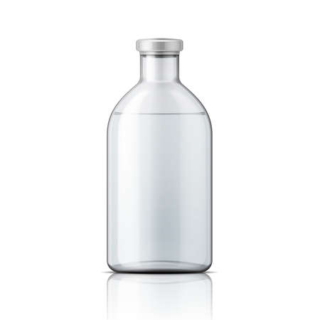 distilled: Template of empty transparent glass bottle with aluminium cap, filled with distilled water or salt solution. Packaging collection. Vector illustration.