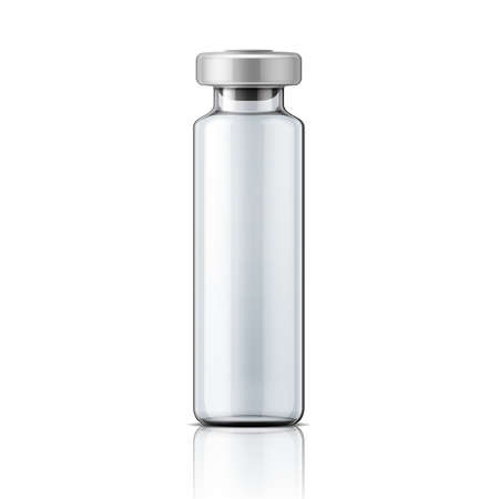stopper: Template of transparent glass medical ampoule with aluminium cap. Packaging collection. Vector illustration.