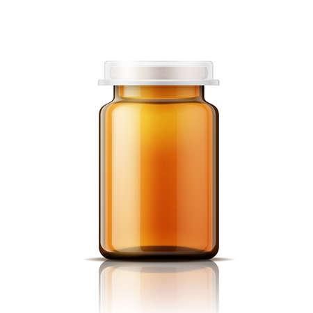 pastillas: Plantilla de la pequeña botella de vidrio marrón con tapa de plástico. Para oinment médico, píldoras, las pestañas. recogida de envases. Ilustración del vector. Vectores