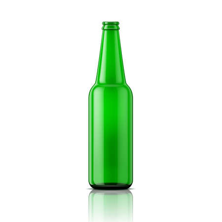 Template of empty beer bottle without cap on white background. Green glass. Vector illustration. Packaging collection. Vettoriali