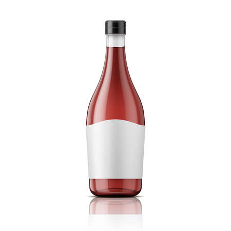 Glass wine vinegar bottle with plastic lid and blank label. Vector illustration. Glass bottle collection.