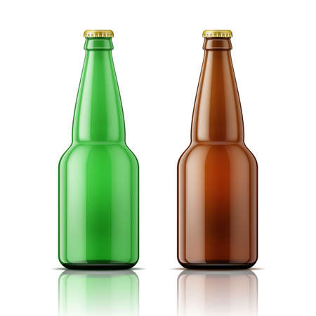 Template of empty beer bottle with cap on white background. Green and brown glass. Vector illustration. Packaging collection. Иллюстрация