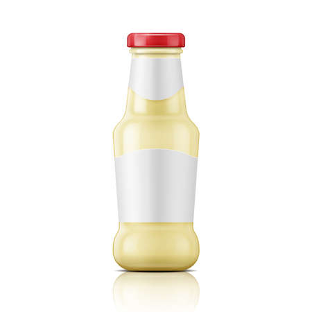 glass bottle: White sauce in glass bottle with red lid. Vector illustration. Packaging collection.