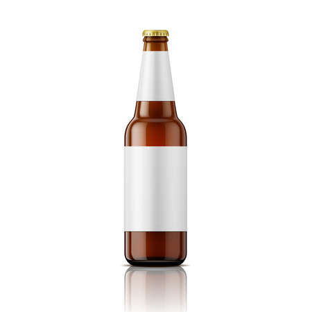 bottle cap: Template of empty brown glass beer bottle with blank labels on white background. Vector illustration. Packaging collection.