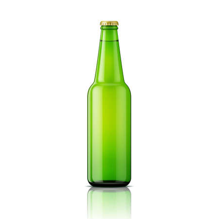 Template of green glass beer bottle on white background. Vector illustration. Packaging collection.