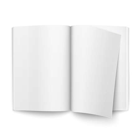open magazine: Blank open magazine template on white background with one page turning over. Ready for your design. Vector illustration. Illustration