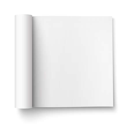 open magazine: Blank open magazine template with rolled pages on white background . Square format. Ready for your design. Vector illustration.
